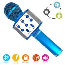 Giao Hàng Nhanh WS 858 Micro Hát Karaoke Không Dây Loa Ghi Âm Youtube Bluetooth Micro Cho Điện Thoại Thông Minh K9 Trẻ Em Mic Hát
