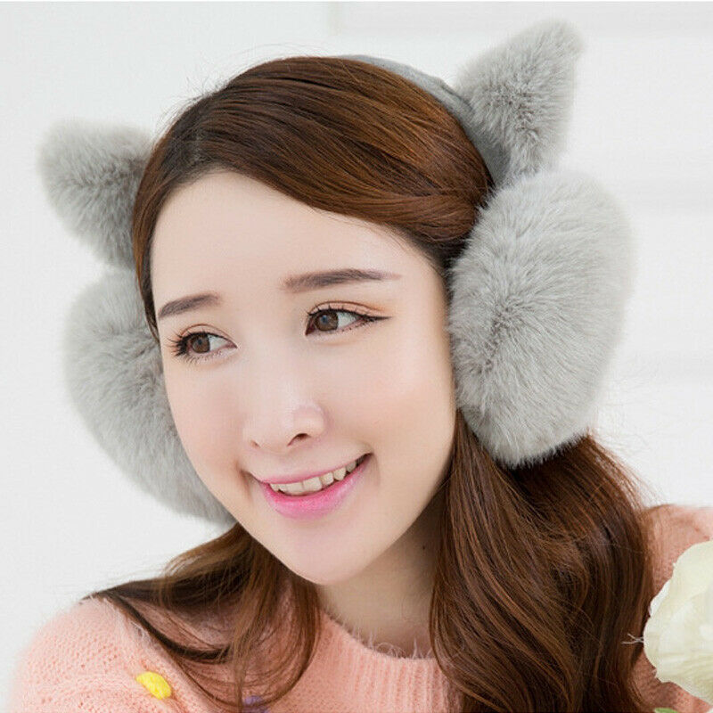 Winter Faux Fur Big Earmuffs Warmer Thicken Plush Fluffy Ear Muffs Solid Earlap Women Cute Soft Earmuffs