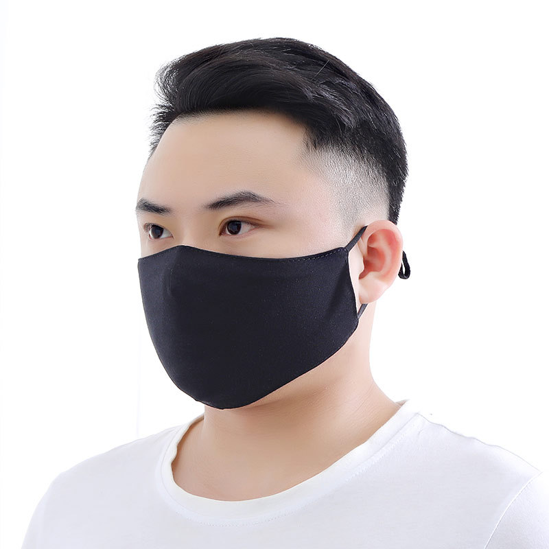 1pc Unisex Simple Black Masks Comfortable Soft Cotton Anti-Dust Haze Protection Warm Mouth Face Masks Black Adjustbale Masks