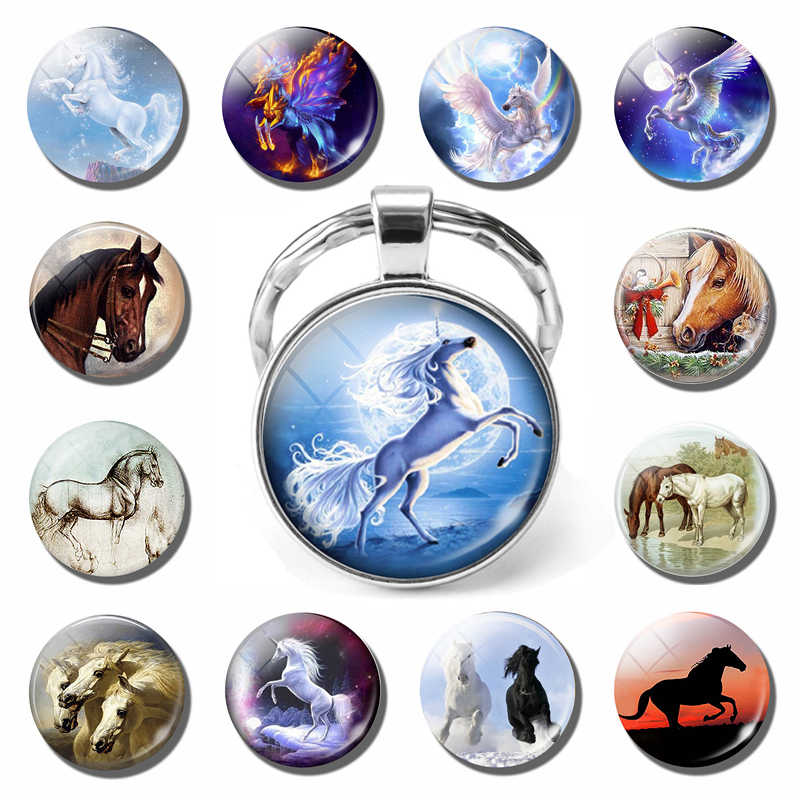 White Horse พวงกุญแจสัตว์ธรรมชาติภาพสัตว์ Silver Plated Heart จี้แก้วเครื่องประดับ Cabochon Key CHAIN ของขวัญคริสต์มาส