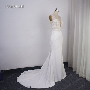 Image 4 - Spaghetti Strap Sheath Wedding Dress Lace Appliqued Pearl Beaded Low Back Crepe Bridal Gown Hilary Duffs Wedding Dress Material