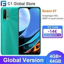 Versão global xiaomi redmi 9t celular 4gb ram 64gb/4gb 128gb rom snapdragon 662 bluetooth 5.0 6000mah 48mp câmera traseira