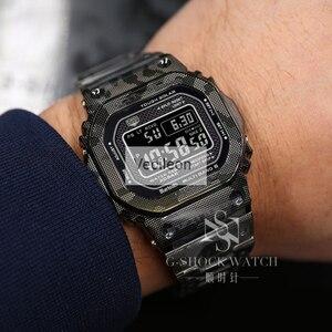 Image 3 - _ Черный Камуфляжный серебристый титановый сплав ремешки для часов и Безель металлический ремешок сталь GMW B5000 с инструментами