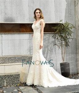 Image 5 - Винтажное свадебное платье Русалка 2019 свадебное платье с V образным вырезом Свадебное платье с открытыми плечами свадебное платье
