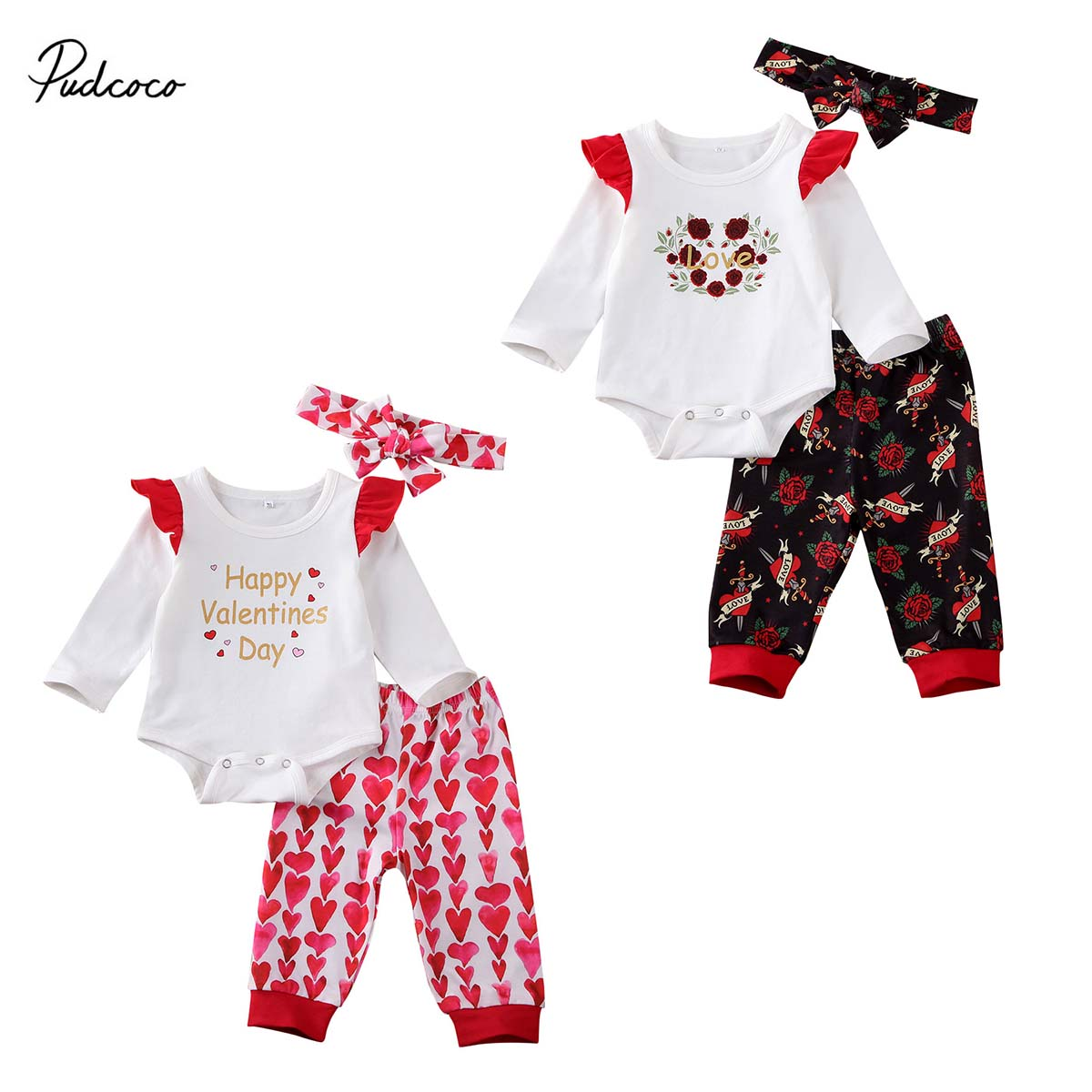 Valentines Day Baby Girl Clothes Ruffle Long Sleeve Top Love Print Pants with Headband Outfits Set Red