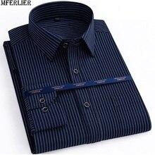 Jesień mężczyźni plus rozmiar koszula biurowa z długim rękawem zima bawełna 8XL 10XL 12XL oversize koszula w paski kieszenie formalna koszula niebieski czarny