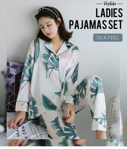 Image 2 - Voplidia kadın Pijama seti yeni bahar sonbahar dikiş Pijama ipek hissi Pijama Pijama kadın Pijama Feminino ev giysileri