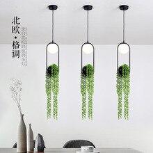 Personality creative plants grass glass pendant lamps restaurant bar bedroom aisle lights decoration