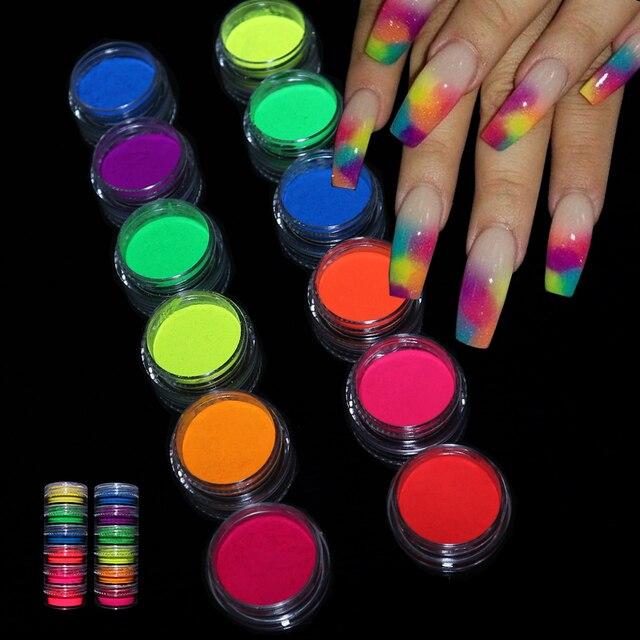 Neon Pigment Powder Fluorescent Nail Glitter Set Shinny Ombre Chrome Dust DIY Gel Polish Manicure For Nails Art Decoration 1