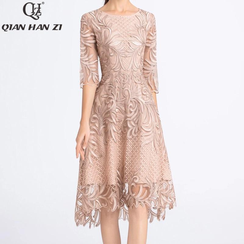 Qian Han Zi 2020 Fashion Summer dress Womens vintage mesh embroidered luxury disc flower dress plus size dress
