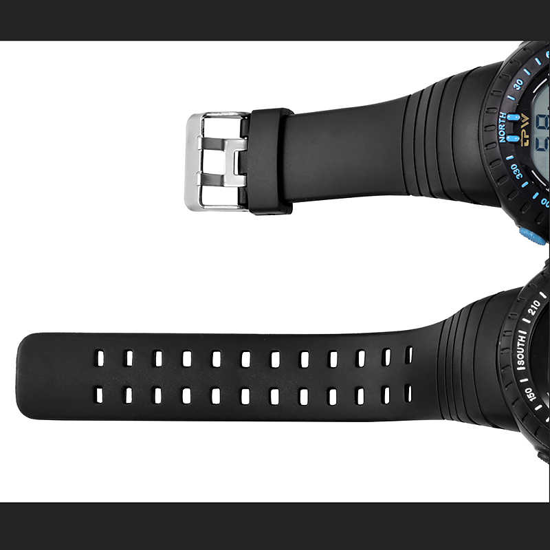 นาฬิกาดิจิตอลกีฬากลางแจ้งนาฬิกา 5ATM 50M กันน้ำนาฬิกาข้อมือ LED นาฬิกาผู้ชาย Big Dial หมุน BEZEL Millitary Army