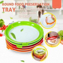 Round Clever Tray Creative Food Preservation Tray Plastic Food Storage Container Set Food Fresh Storage Dropshipping(China)