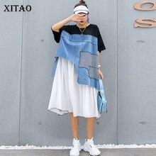 XITAO gelgit artı boyutu Patchwork şifon elbise kadın kıyafetleri 2020 yaz düzensiz kazak kısa kollu zarif elbise GCC3586