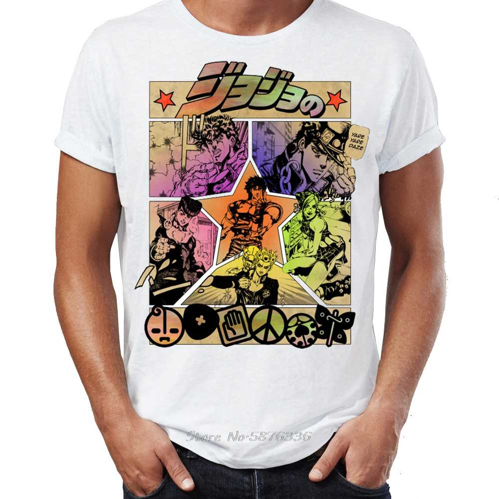 Jojo T Shirt 기묘한 모험 Jojo Manga Anime 굉장한 삽화 Tshirt Printed Street Guys 탑 & 티즈 Anime Cotton Tshirt