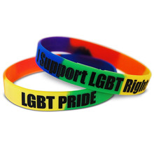 1pcs LGBT Pride Rights  rubber silicone sport wristband men bracelet free shipping by ePacket