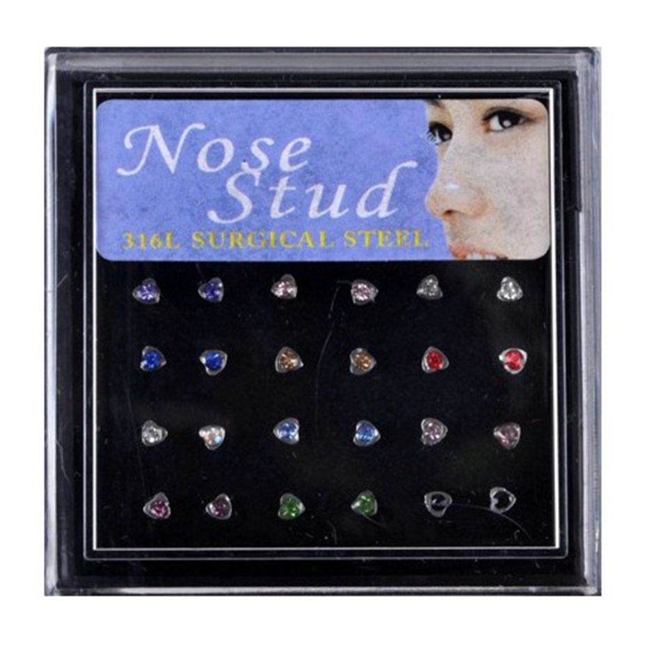 2020 Box 1 8 2 5mm Crystal Nose Ring Set Girl Stainless Steel