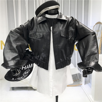 2020 women leather blazers and jackets plus size 5xl elegant turn down collar soft pu leather coat women black leather jacket Black Womens Faux Leather Jacket  Turn-down Collar  Single Breasted  Pockets  High Street  Moto Jacket Women  Pu Leather Jacket