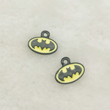 10pcs enamel bat charm jewelry accessories earrng pendant bracelet necklace charms zinc alloy diy finding 10x11mm(China)