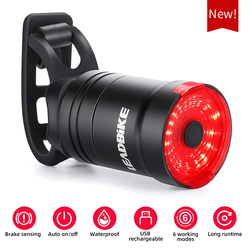 Велосипедный умный автомобильный тормозной датчик света IPx6 водонепроницаемый задний фонарь USB перезаряжаемый велосипедный светодиодный з...