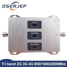 2g 3g 4g Tri אותות בוסטרים 850 MHz, 4G LTE 1800 MHz, 4G + FDD LTE 2600MHz LTE משחזר מגבר לא כולל אנטנה