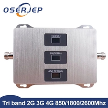 2g 3g 4g Tri Band Signal Booster 850MHz, 4G LTE 1800MHz,4G+FDD LTE 2600MHz LTE Repeater Amplifier not include antenna