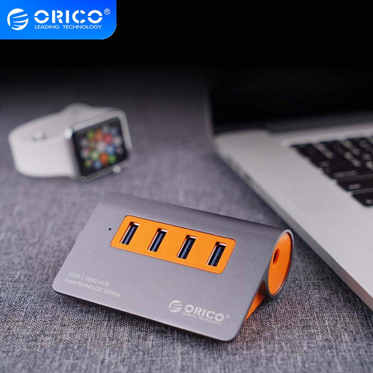 ORICO Aluminum <font><b>4</b></font> <font><b>Ports</b></font> USB3.1 <font><b>Hub</b></font> 10 Gbps Super Transmission Speed <font><b>USB</b></font> Splitter with 12V Power Adapter For Computer Accessories image