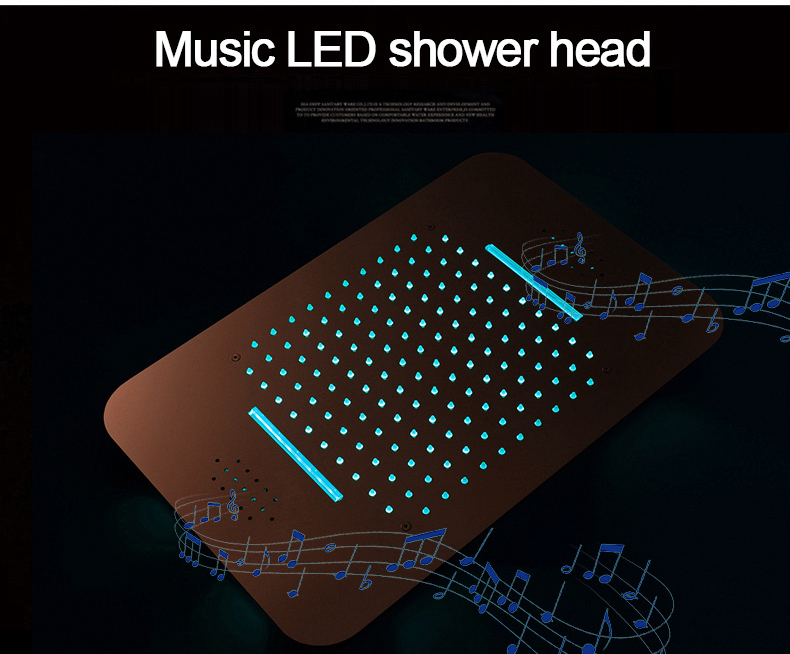 H44b9d51a41384ef883a65eaf4eb5a8f8g M Boenn Luxury Rose Gold LED Shower System Music ShowerHead Bathroom Faucets Rain Shower Set Thermostatic Brass Concealed Mixer