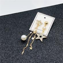 S925 Silver Needle Asymmetric Earrings Personality Super Fairy Tassel Pentagonal Star Dangle Female