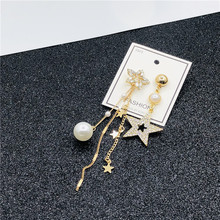 лучшая цена S925 Silver Needle Asymmetric Earrings Personality Super Fairy Tassel Pentagonal Star Earrings Dangle Earrings Female