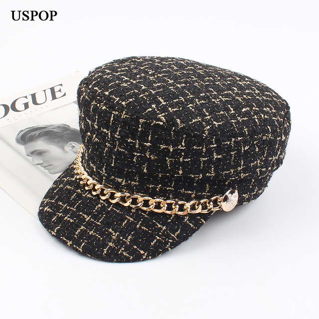 USPOP 2019 New women hats Tweed plaid newsboy caps chain flat top visor cap vintage plaid military cap female autumn winter hats 1