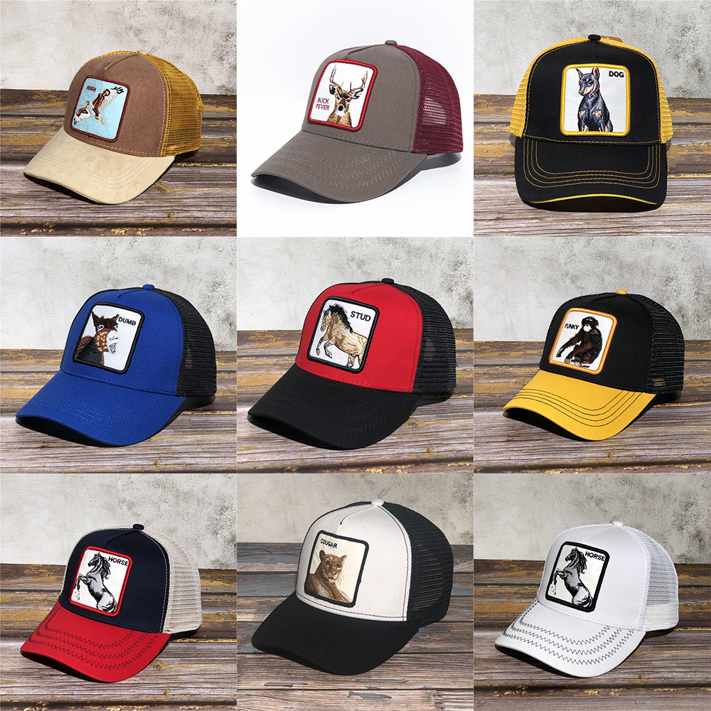 New Flying Goose and Raccoon Heads Baseball Cap Animal Embroidery Anime Cute Embroidery Summer Mesh Sunshade  hats- BUTCH- black