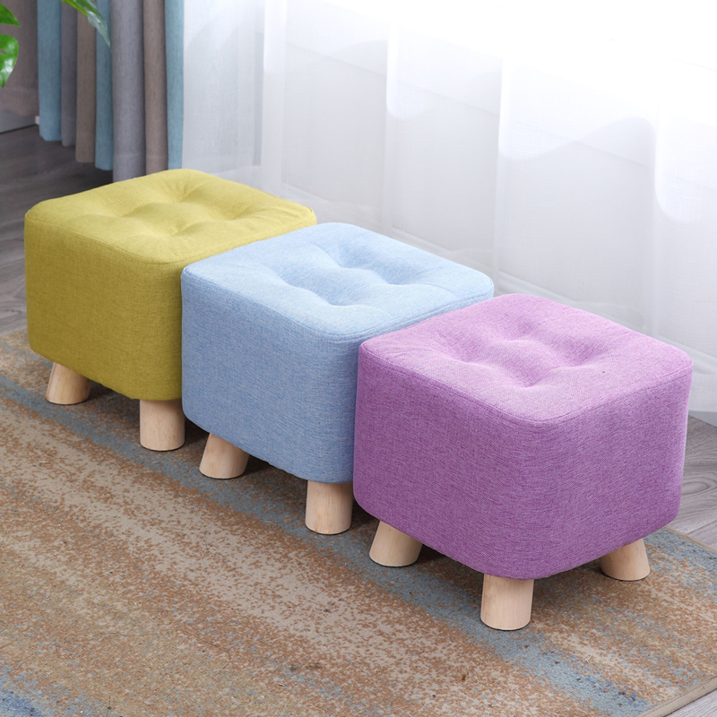 Fashion Home Sofa Square Stool Cloth Art Living Room Tea Table Mound Wooden Creative Small Foot Stools Saddle Kids Stool Bench