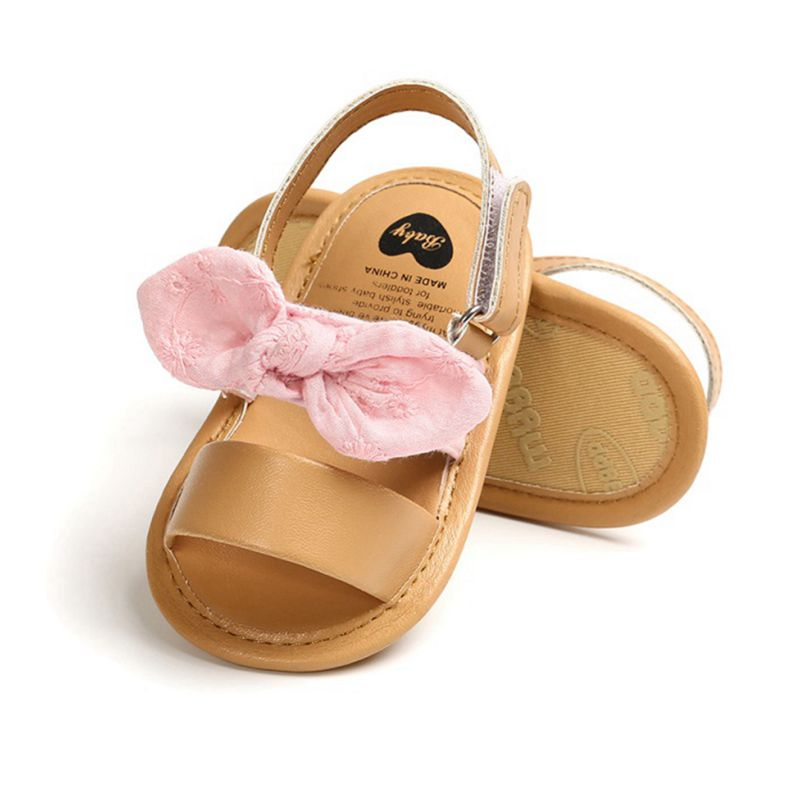 Fashion Newborn Infant Baby Girls Princess Shoes Bowknot Toddler Summer Sandals PU Non-slip Shoes 0-18M 5