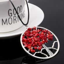 SA SILVERAGE Natural Gravel Handmade Tree of Life Necklace 2019 Colorful Stone Trendy European American Pendant Jewelry