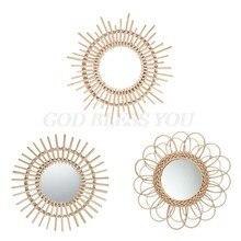 Espejo redondo de ratán para maquillaje, decoración artística innovadora, tocador, dormitorio, baño, espejos colgantes de pared, accesorios para fotos artesanales