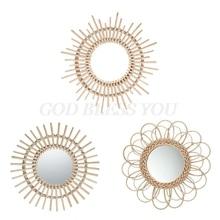 Rattan Innovative Art Decoration Round Makeup Mirror Dressing Bedroom Bathroom Wall Hanging Mirrors Craft Photo Props