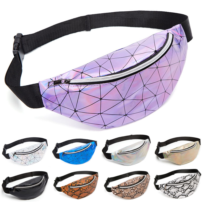 TRASSORY Laser Sequined Rhomboid Belt Waist Pack Puch Bag Travel Leather Shiny Luminous Chest Running Fanny Bag For Girls