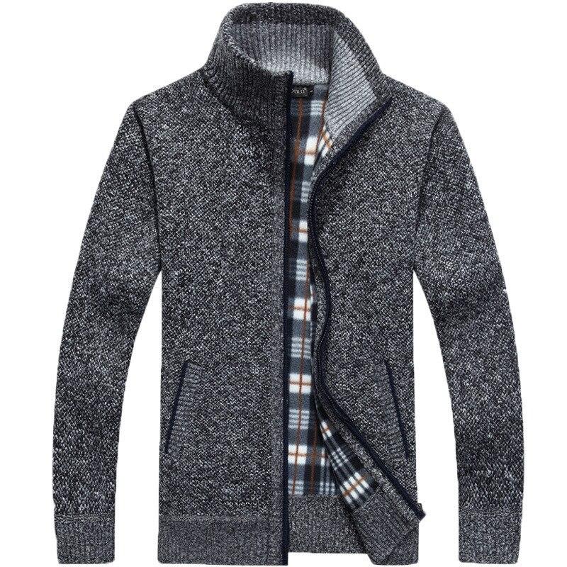 Новая осенне-зимняя мужская теплая кашемировая повседневная шерстяная приталенная флисовая куртка на молнии мужское пальто платье трикот...