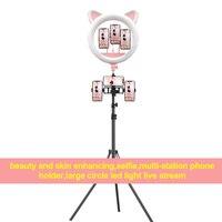 20 Polegada led profissional bonito gato orelha transmissão ao vivo luz telefone selfie preenchimento luz beleza suporte fotografia anel luz