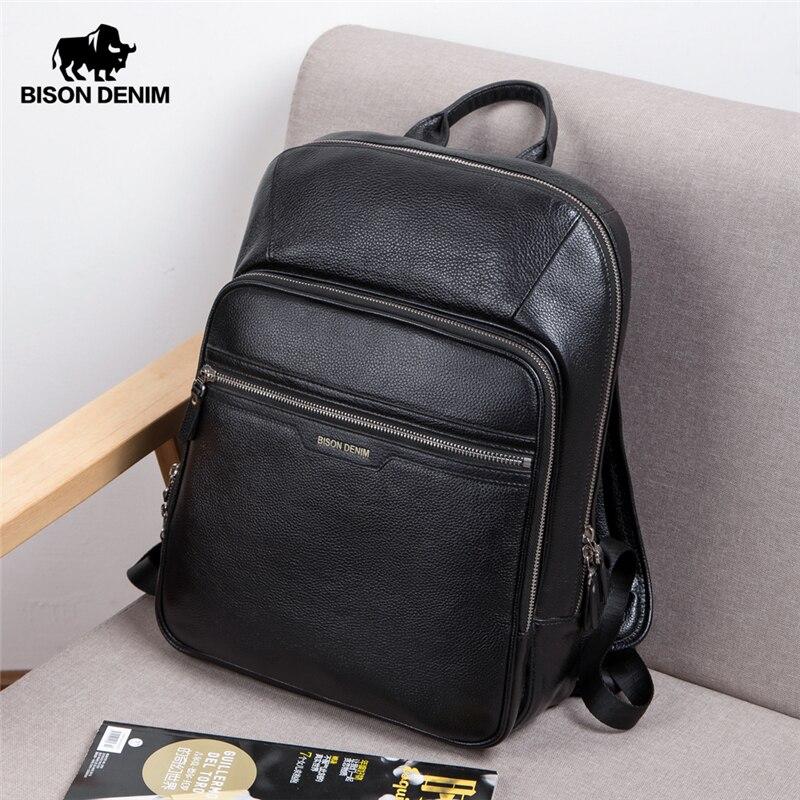 BISON DENIM, мужской рюкзак из натуральной кожи, 14 дюймов, рюкзак для ноутбука, рюкзак для путешествий, мужской модный рюкзак, школьный рюкзак для ...