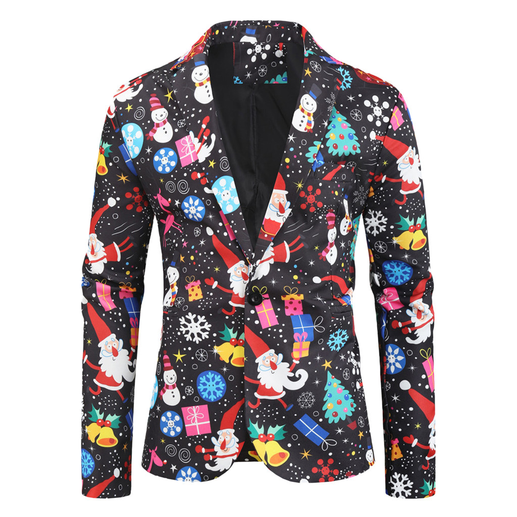 Christmas Clothes Men Blazers Causal Printing Santa Claus Dinner Party Suits Blazers Slim Fit Plus Size Snowmen Candy Jackets#35