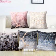 Polyester Texture Cushion Geometric Christmas Pillow Decorative for Sofa Printed Throw Seat Chair 45x45cm