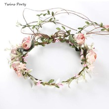 Twins Party Beach Crown Flower Hairband Floral Headdress Bride Wedding Headband