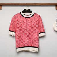 秋 2019 新しいセーター赤古典的なジャカード手紙半袖ニットセーター女