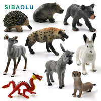 New Chinese Dragon Hyena Hippo Bear Donkey Mole Otter Rabbit figurine Animal model home decor miniature decoration accessories