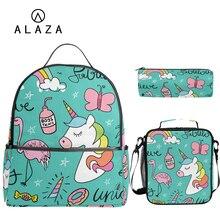 ALAZA unicorn print School Bag Set 3pcs Kids Backpack Mochil