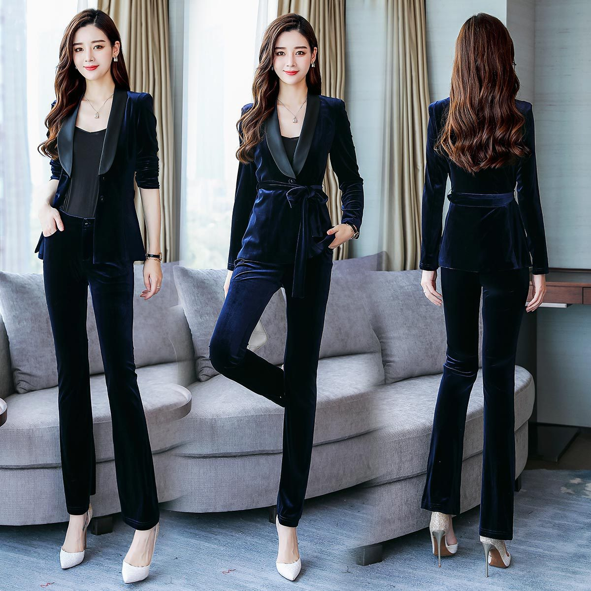 Skinny Pants Trend Joint Fashion Elegant Solid Color 2018 Autumn Cardigan