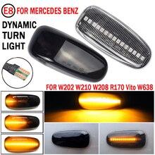 2pcs LED Dynamic Side Marker Light Sequential Flowing Turn Signal Lamp For Mercedes Benz W210 W202 CLK W208 SLK R170 W638