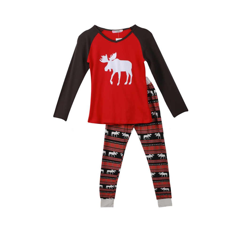 Conjunto de pijamas a juego para Familia de Navidad de 2019 pijamas de algodón para adultos