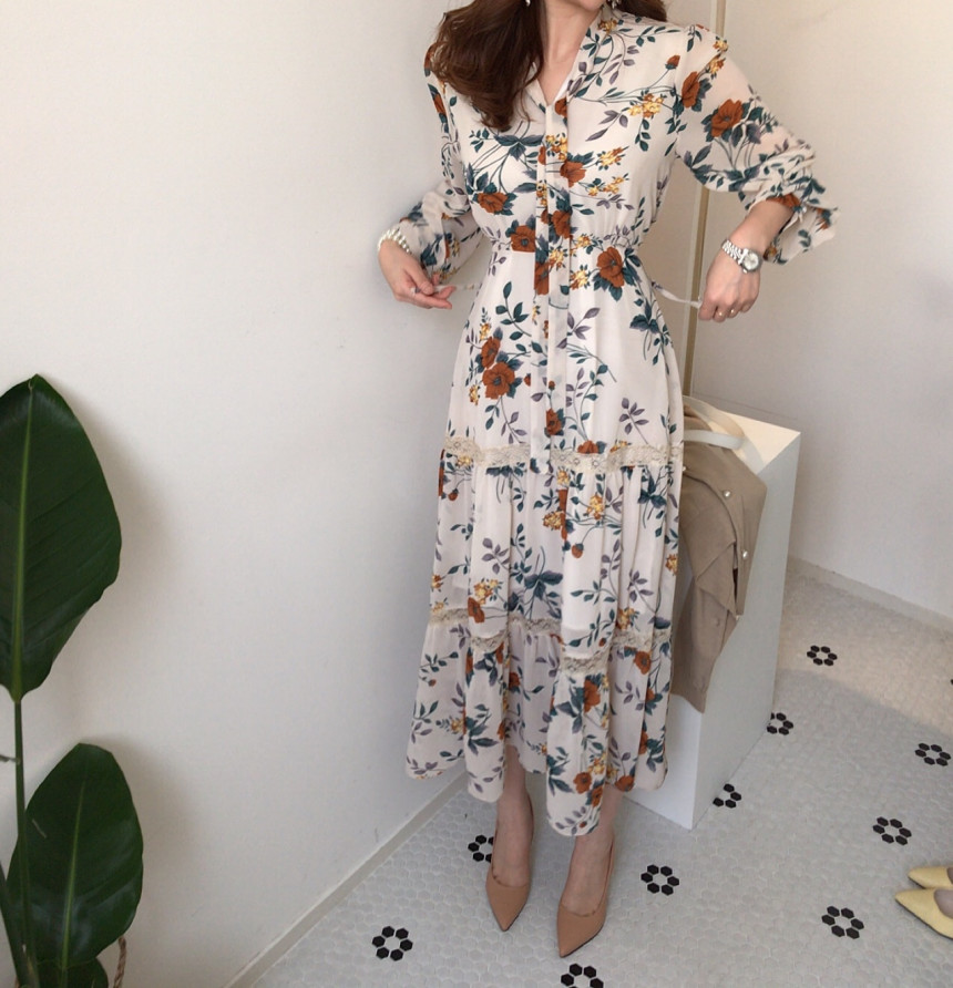 Chic Retro Women Summer Dress 2020 Casual Long Sleeve Boho Floral Print Maxi Dress  Bandage Elegant Dresses Vestido
